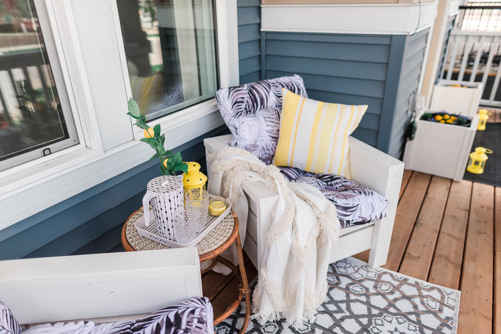 Cheerful Small Porch Makeover with DIY Outdoor Chairs Belvedere Orchards Brookfield-29