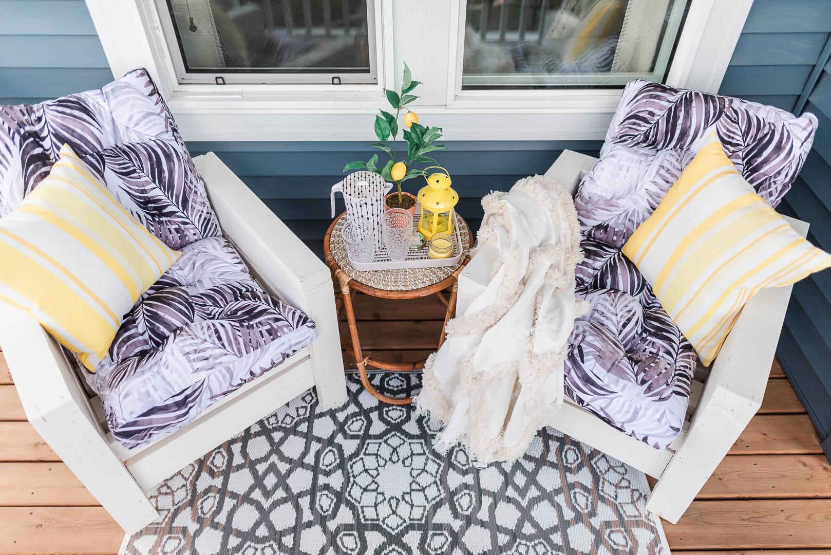 Cheerful Small Porch Makeover with DIY Outdoor Chairs Belvedere Orchards Brookfield-33